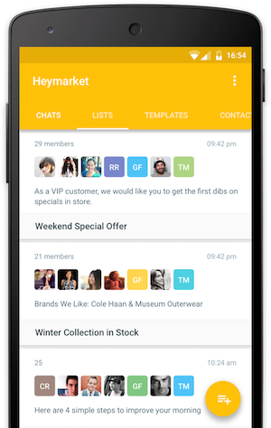 Heymarket android app screen showing lists